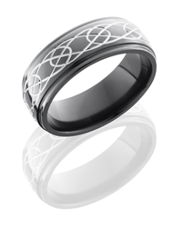 Zirconium 8mm Domed Band with Grooved Edges and Celtic Pattern