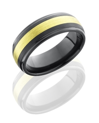 Zirconium 8mm Domed Band with Grooved Edges and 3mm 18KG