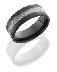 Cobalt Chrome 8mm Hammered Flat Band with 3mm  Gibeon Meteorite [clone]