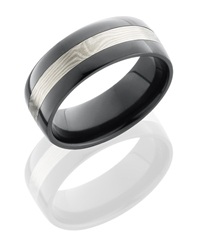 Zirconium 8mm Flat Band with Sterling Sliver and Shakudo Mokume