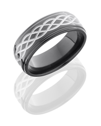 Zirconium 8mm Flat Band with Grooved Edges and Celtic Pattern