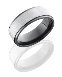 Zirconium 8mm Flat Band with Grooved Edges