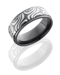 Zirconium 8mm Flat Band with Grooved Edges and Mokume Pattern