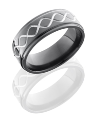 Zirconium 8mm Flat Band with Grooved Edges and Infinity Pattern