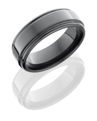 Zirconium 8mm Flat Band with Rounded Edges