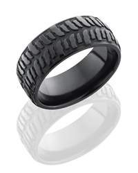 Zirconium 9mm Domed Band with Bogger Pattern