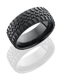 Zirconium 9mm Domed Band with Truck Tire Pattern