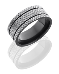 Zirconium 9mm Flat Band with two .5mm Grooves and Knurl Pattern