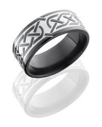 Zirconium 9mm Flat Band with Celtic Pattern