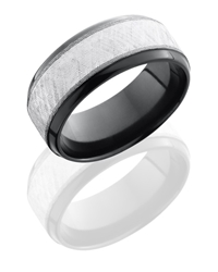 Zirconium 9mm Beveled Band with 5mm Sterling Silver