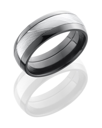 Zirconium 8mm Domed Band with 4mm Damascus Steel